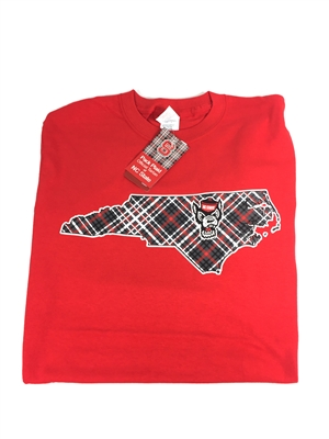 North Carolina State University Tartan Red T-shirt with Wolf Head