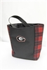 Officially Licensed University of Georgia Tartan Bucket Tote.  Perfect for tailgating or anytime you need a tote and want to show your UG Bulldog Pride!  Two pockets on each side for wine bottle or beverage of choice.  Made in USA. Big G on front.