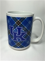 Officially Licensed University of Kentucky Tartan Ceramic Mug.  15 ounce.  Printed in USA.  Enjoy your morning joe with your your UK logo and tartan!