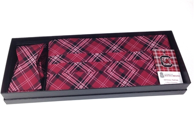 University of South Carolina Silk Tartan Bow Tie and Cummerbund Set