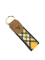 WVU Tartan Leather Embossed Key Fob