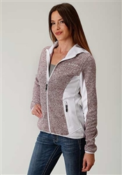 Ladies Versatile Hooded Bonded Fleece Jacket With Sweater Knit Combo