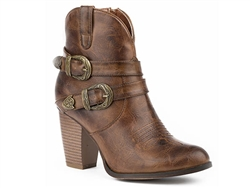 Roper Women's Cognac Burnished Faux Leather Bootie