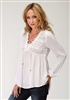 Ladies Peasant Top In Flowing Rayon Crepe