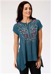 Ladies Peasant Tunic In Rayon Crepe