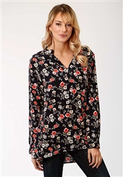 Pullover Tunic In Floral Printed Rayon Challis