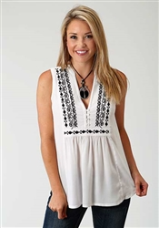 Pretty Sleeveless Peasant Top In Soft Rayon Challis