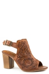 Women's Roper Floral Tooled Leather Open Toe Mule