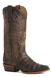 Women's Roper Cognac Caiman Belly Tail With Brown Leather Saddle Vamp