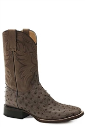 Stetson Men's Square Toe Ostrich Brown Leather
