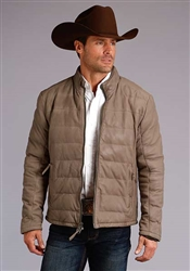 Stetson Men's Taupe Puffy Jacket Front Zip