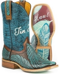 Tin Haul Women's Blue Feather Boot