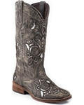 Women's Roper Cowgirl Boot with Silver Inlay