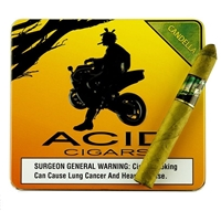 Pictured above is a single stick of Acid Kuba Kuba along side the Acid logo which pictures a dred-locked individual (Scott Chester) on a motorcycle under a tree with what appears to be a sunset