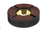 "Wooden Round Ashtray With Brass Bowl Insert - Holds 4 Cigars - 7"" Diameter"