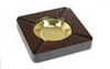 "Wooden Sqaure Ashtray With Brass Bowl Insert - Holds 4 Cigar - 7"" x 7"""