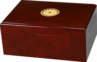 "50 Count Sao Paolo Humidor with Cameo Inlay - Includes a Hygrometer and Humidifier 12 1/4""W x 8 3/4""D x 5 1/8""H"