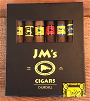 JM Churchill 6 Cigar Sampler (1 Each: Dominican Connecticut, Dominican Corojo, Dominican Sumtra, Dominican Maduro, Nicaraguan Sumatra, and Nicaraguan Maduro)