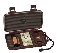 Lotus Conquistador Big Boy Gift Set (Includes a 5 Count Travel Humidor, a Veritgo Conquistador Quad Lighter, and a Big Boy 64 Ring Double Blade Cutter)