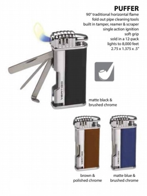 Lotus Vertigo Puffer Pipe Lighter with Built in Tamper, Reamer and Scraper