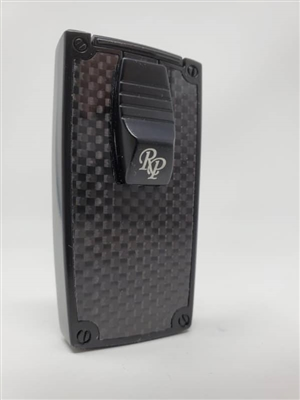 Rocky Patel Double Flame Nero Lighter - Black and Black Carbon Fiber Plate