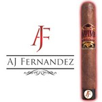 Pictured is a cigar that has two bands, one at the top and one at the bottom. Has a large AJ at the bottom