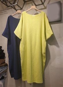 Emily Cotton 100 Dress (Yellow/Navy) (will ship within 1~2 weeks)