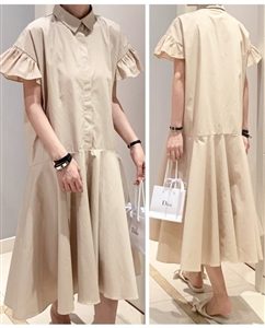 Ruffle Sleeve Dress (Beige/Black/Ivory) (will ship within 1~2 weeks)