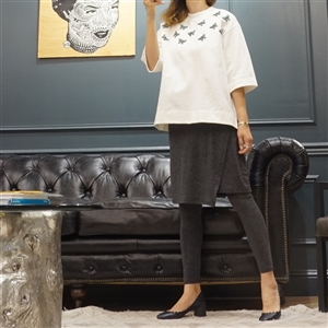 (Best; 2nd Reorder) Charcoal Wrap Skirt Leggings
