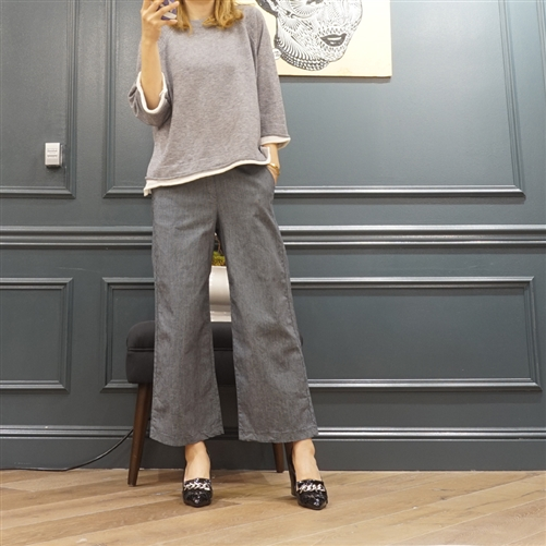 (Best; Back-Order; 2nd Reorder) Navy Stripe Wide Pants (F/L) (will ship within 1~2 weeks)