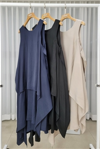 Unbalanced dress (Black/Gray/Navy) (will ship within 1~2 weeks)