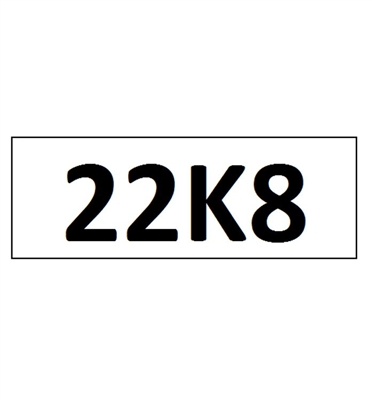 """22K8"" DECAL - 4"" LETTERS"