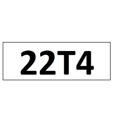"""22T4"" DECAL - 4"" LETTERS"