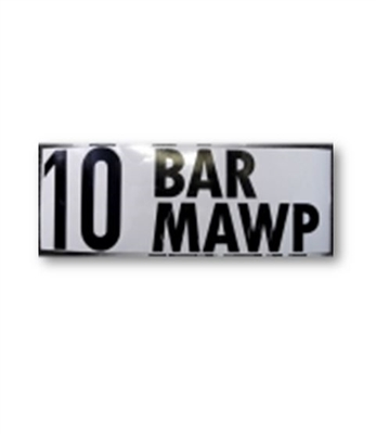 """10 BAR MAWP"" DECAL - 2"" LETTERS"