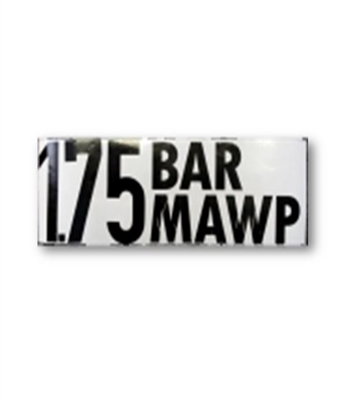 """1.75 BAR MAWP"" DECAL - 2"" LETTERS"