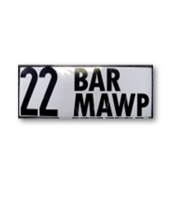 """22 BAR MAWP"" DECAL - 2"" LETTERS"