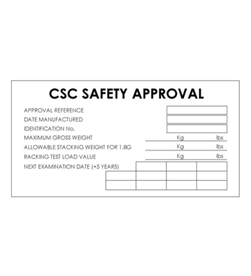 "CSC SAFETY APPROVAL - 8"" X 4"" - SS"