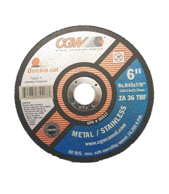 "6"" X 7/8"" CUT OFF WHEEL - 0.045"" THICK"