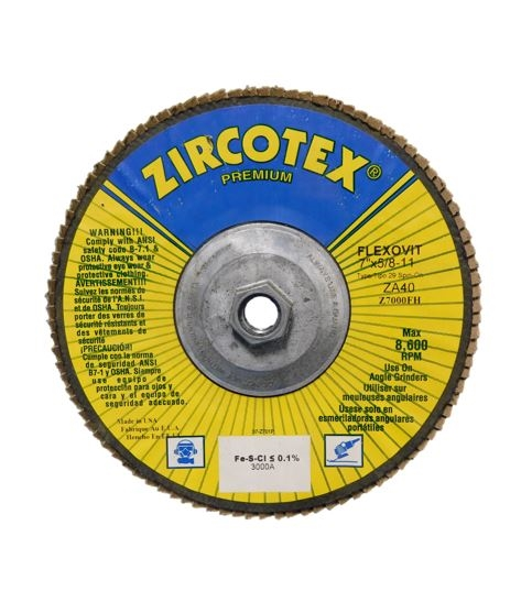 "7"" X 5/8""-11 FLAP DISC - 40 GRIT - ZIRCOTEC PRODUCT"