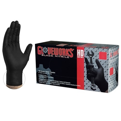 Gloveworks® HD Black Nitrile Industrial Latex Free Disposable Gloves