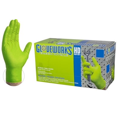 Gloveworks® HD Green Nitrile Industrial Latex Free Disposable Gloves