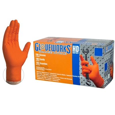 Gloveworks® HD Orange Nitrile Industrial Latex Free Disposable Gloves