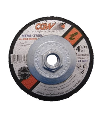 "4.5"" X 5/8""-11 GRINDING WHEEL - 24 GRIT - 1/4"" THICK"