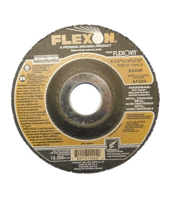"4.5"" X 7/8""-9 GRINDING WHEEL - 24 GRIT - 1/4"" THICK - ZIRCOTEC PRODUCT"