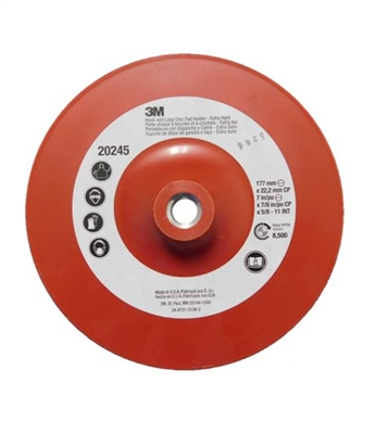 "7"" X 5/8"" RED  HOOK AND  LOOP DISC BACKUP PAD - 3M PRODUCT"