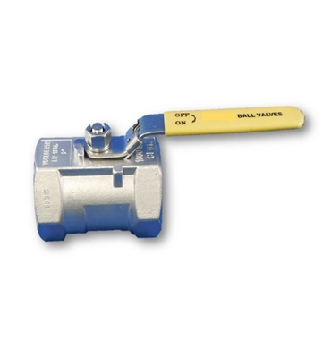 "2"" INLINE BALL VALVE - NPT - SS (REVERSE HANDLE)"