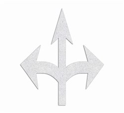 PR-TH-3529 - Preformed Thermoplastic Combo Arrow (Straight, Left & Right) Symbol - 13' x 11' - 90 MIL White - (Qty 1)