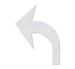 "PR-TH-3545 - Preformed Thermoplastic Turn Arrow Standard Left Symbol - 8' x 6'1"" 125 MIL White - (Qty 2)"