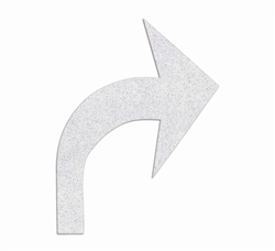 "PR-TH-3546 - Preformed Thermoplastic Turn Arrow Standard Right Symbol - 8' x 6'1"" 125 MIL White - (Qty 2)"