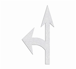 "PR-TH-3553 - Preformed Thermoplastic  Combo Arrow Standard Left Symbol - 12'9"" x  7' 125 MIL White - (Qty 1)"